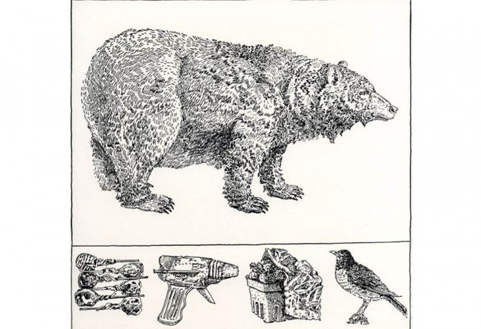 <i>Bear with Predella</i>, 1976<br>Rubber stamp print, 8 1/2 x 8 1/2 inches (21.59 x 21.59 cm)<br>Gift of Ruth and Richard Shack