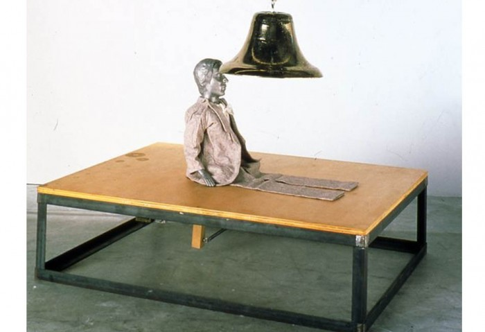 <i>Attempt to Raise Hell</i>, 1974<br>Wood and metal platform, brass bell, and dummy doll, 42 x 60 x 1 inches (106.68 x 152.4 x 2.54 cm)<br>Partial gift of the Oppenheim Foundation and purchased with funds provided by Dennis and Debra Scholl