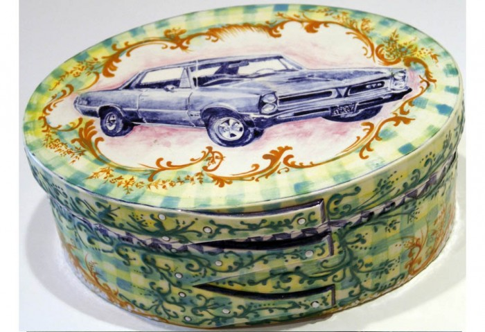 <i>Hot Rod Shaker Box (64 GTO)</i>, 1994<br>Hand-painted ceramic box, 4 x 10 x 8 inches (10.16 x 25.4 x 20.32 cm)<br>Gift of Peter Norton