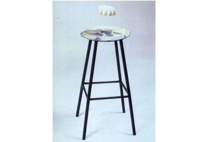 <i>Comrade Kiralov Returns to Earth</i>, 1994<br>Underglazed, painted, and varnished ceramic stool and string, 34 x 14 x 14 inches (86.36 x 35.56 x 35.56 cm)<br>Gift of Peter Norton