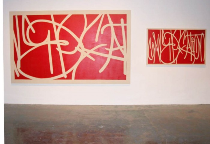 <i>Conversation</i>, 2001<br>Acrylic on canvas mounted on wood, 72 x 120 inches (182.88 x 304.8 cm)<br>Gift of Rosa and Carlos de la Cruz