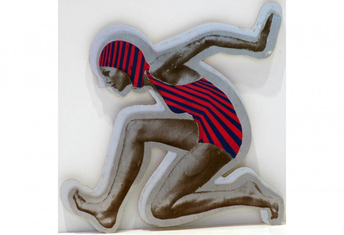 <i>Swimmer D.</i>, 1970<br>Multiple on plexiglass,	9 1/2 x 9 1/2 inches (24.13 x 24.13 cm)<br>Gift of Debra and Dennis Scholl