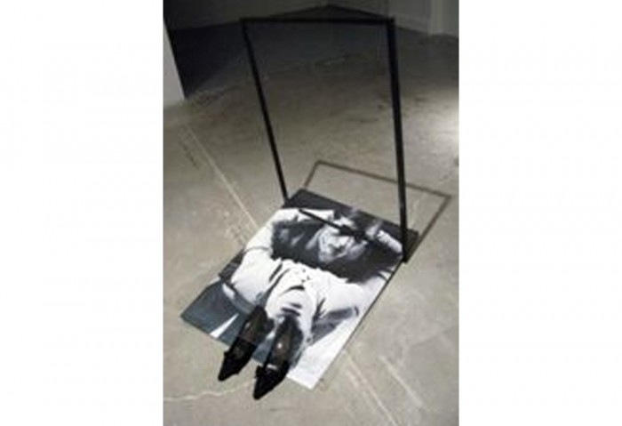 <i>Blind Date</i>, 2009<br>Poster, frame, shoes, bun necktie, and plexiglas, 44 x 28 x 37 inches (111.76 x 71.12 x 93.98 cm)<br>Purchased with funds provided by the Buddy Taub Foundation courtesy of Directors, Dennis A. Roach and Jill Roach