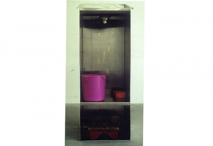 <i>Lectern</i>, 1992<br>Stainless steel, wooden step stool, plastic bucket, and sponge, 57 1/4 x 21 1/2 x 23 inches (145.42 x 54.61 x 58.42 cm)<br>Gift of Eileen and Peter Norton