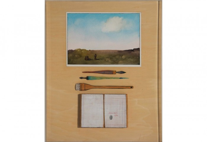 <i>The Fingerprint Table</i>, 1974<br>Mixed media,	28 x 23 x 1 5/8 inches (71.12 x 58.42 x 4.13 cm)<br>Gift of Paula and Joel Friedland