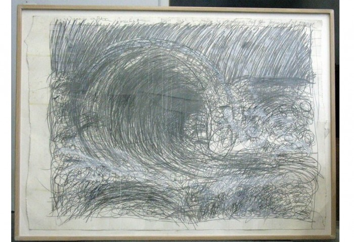 <i>From the Sea, the Wave After Courbet</i>, 1984<br>Mixed media on paper, 66 x 90 inches (167.64 x 228.6 cm)<br>Gift of Joan and Roger Sonnabend