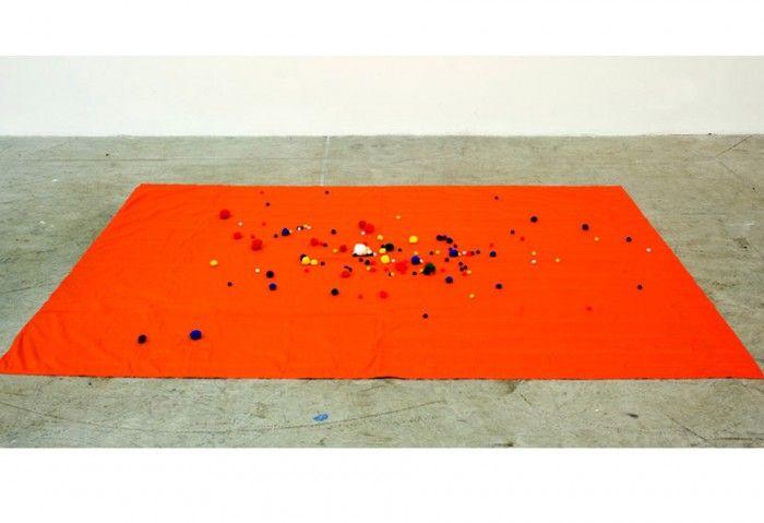 <i>Untitled</i>, 2012<br>Fabric and pom poms<br>Gift of the Artist