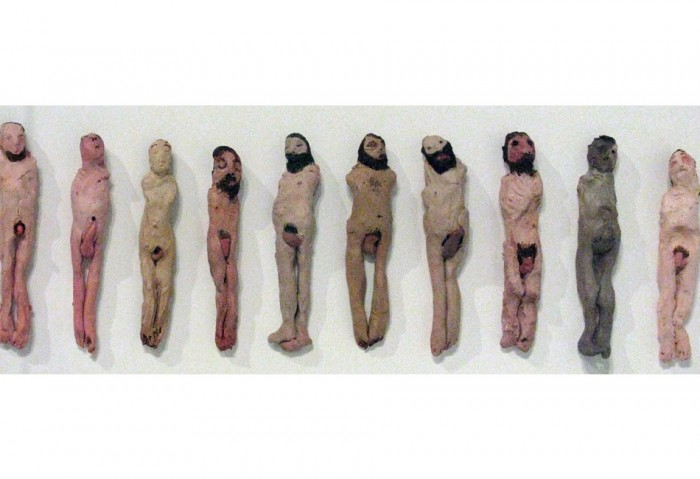 <i>Untitled men</i>, 2007<br>Clay and acrylic paint, 16 1/4 x 24 1/2 x 3 1/4 inches (41.28 x 62.23 x 8.26 cm)<br>Purchased by the Museum of Contemporary Art, North Miami