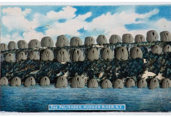 <i>The Palisades, Hudson River, NY</i>, 1975<br>Kneaded erasers on postcard, 15 1/2 x 17 3/4 x 2 inches (39.37 x 45.09 x 5.08 cm)<br>Gift of Joan and Roger Sonnabend