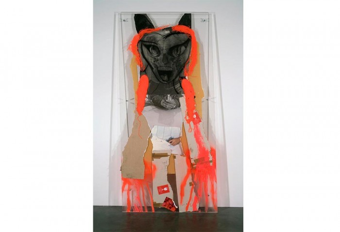 <i>Firecrotch</i>, 2008 <br>Plexiglass, yarn, printed paper, cardboard, tape, charcoal, spray paint, tempera, 93 1/4  x 45  x 2 3/4 inches (236.86 x 114.3 x 6.99 cm)<br>Purchase with funds from the MOCA POP 8 1/2 Fundraiser