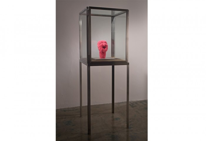 <i>Untitled</i>, 2001<br>Pink fabric, aluminum, glass, and wood, 12 3/4 x 11 3/4 x 11 3/4 inches (32.39 x 29.85 x 29.85 cm)<br>Gift of the Artist
