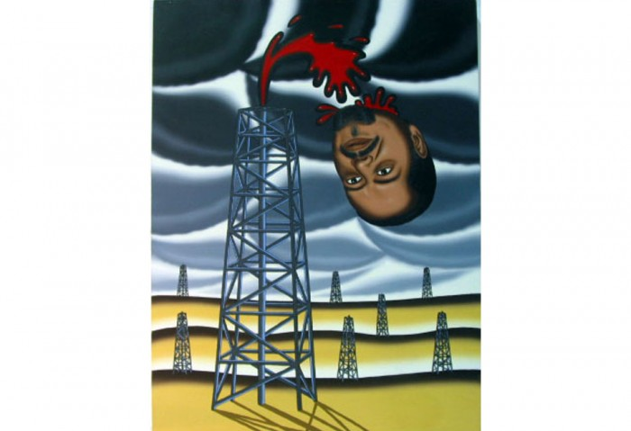 <i>Arab Oil Shiek</i>, 1986<br>Oil on canvas, 48 x 36 inches (121.92 x 91.44 cm)<br>Gift of Estelle and Paul Berg