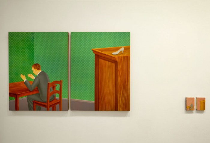 <i>Sin titulo (Untitled)</i>, 1995<br>Diptych with oil and encaustic on canvas, and enamel on metal, 48 1/16 x 36 1/4 inches (122 x 92 cm)<br>Purchased with funds provided by Janet and Robert Liebowitz and the Jacques and Natasha Gelman Foundation