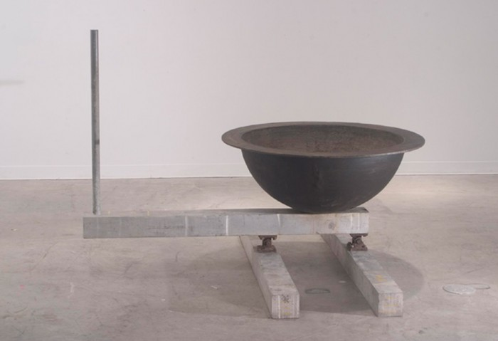 <i>Untitled</i>, 1993<br>Cast iron bowl, aluminum bars, steel bolts, toggles, tar, wax, and shot put ball, 56 1/2 x 56 1/2 x 27 inches (143.51 x 143.51 x 68.58 cm)<br>Gift of Estelle and Paul Berg