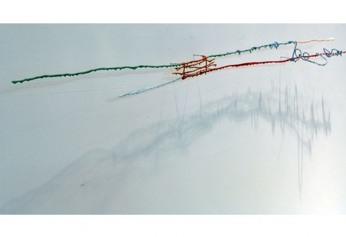 <i>Horizontally with Blue Loop</i>, 2001<br>Oil on wire and colored glue, 7 x 64 x 6 inches (17.78cm x 162.56 x 15.24 cm)<br>Gift of Heidi L. Steiger