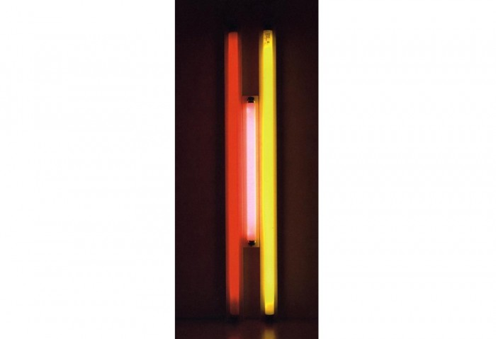 <i>Puerto Rican Lights (to Jeanie Blake) #2</i>, 1965<br>Fluorescent lights, 81 1/2 x 49 x 4 3/4 inches (207.01 x 124.46 x 12.07 cm)<br>Gift of Joan and Roger Sonnabend