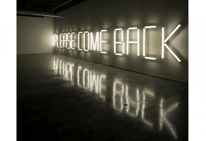 <i>Please Come Back (K. font: American version)</i>, 2008<br>Florescent light fittings, cabling, and movement detector, 570 7/8 x 59 1/16 inches (1450.02 x 150.02 cm)<br>Purchased with funds from MOCA POP 8 1/2 Fundraiser