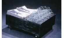 Split Cart, 1991Newspaper, steel, galvanized steel, 28 x 23 x 12 inches (71.12 x 58.42 x 30.48 cm)Gift of Peter Norton