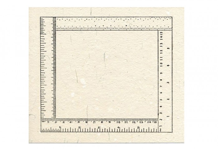 <i>Six Inches Four Ways</i>, 1976<br>Rubber stamp print, 8 1/2 x 8 1/2 inches (21.59 x 21.59 cm)<br>Gift of Ruth and Richard Shack