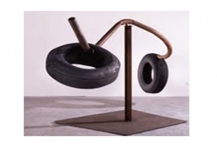 <i>Untitled</i>, 1965<br>Steel, rubber tire on welded steel, 52 1/2 x 116 x 48 inches (133.35 x 294.64 x 121.92 cm)<br>Gift of Irma and Norman Braman