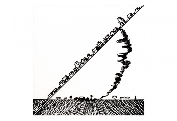 <i>The Relocation of Property by Natural Forces</i>, 1976<br>Rubber stamp print, 8 1/2 x 8 1/2 inches (21.59 x 21.59 cm)<br>Gift of Ruth and Richard Shack