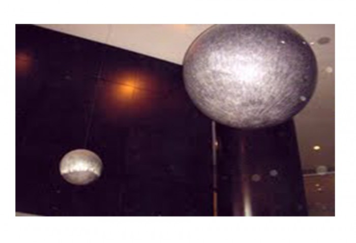 <i>Basin and Range (Two hanging spheres)</i>, 2001-2002<br>Drawing on paper applied to a plexiglass sphere<br>Gift of Joan and Roger Sonnabend