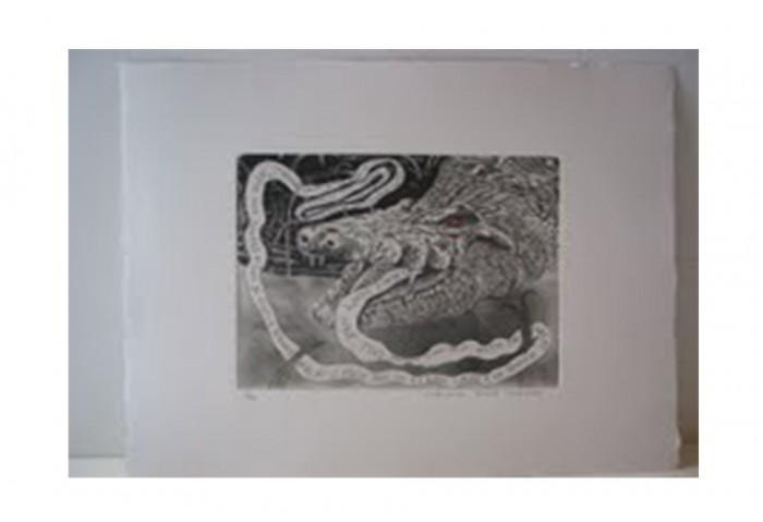 <i>Bye and Bye (Alligator)</i>,	2002<br>Etching on paper, 17 1/4 x 14 1/4 inches (43.82 x 36.2 cm)<br>Gift of Dr. Carl and Shirley Schwartz