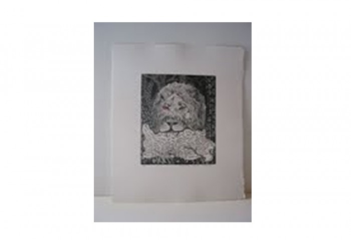 <i>Bye and Bye (Lion)</i>, 2002<br>Etching on paper, 17 1/4 x 14 1/4 inches (43.82 x 36.2 cm)<br>Gift of Dr. Carl and Shirley Schwartz