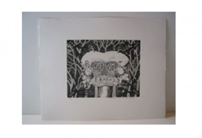 <i>Bye and Bye (Mound Skull)</i>,	2002<br>Etching on paper, 17 1/4 x 14 1/4 inches (43.82 x 36.2 cm)<br>Gift of Dr. Carl and Shirley Schwartz