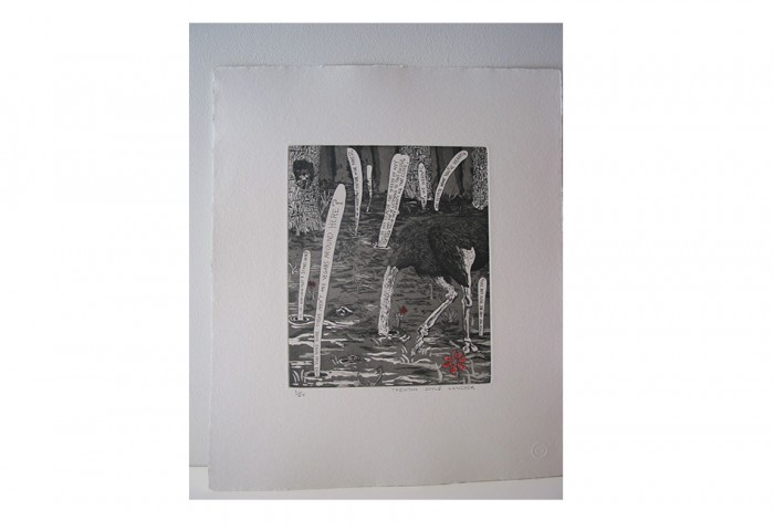 <i>Bye and Bye (Ostrich)</i>, 2002<br>Etching on paper,	17 1/4 x 14 1/4 inches (43.82 x 36.2 cm)<br>Gift of Dr. Carl and Shirley Schwartz
