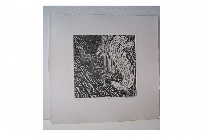 <i>Bye and Bye (Squirrel)</i>,	2002<br>Etching on paper, 17 1/4 x 14 1/4 inches (43.82 x 36.2 cm)<br>Gift of Dr. Carl and Shirley Schwartz
