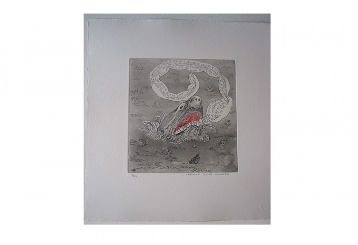 <i>Bye and Bye (Shark)</i>, 2002<br>Etching on paper, 17 1/4 x 14 1/4 inches (43.82 x 36.2 cm)<br>Gift of of Dr. Carl and Shirley Schwartz