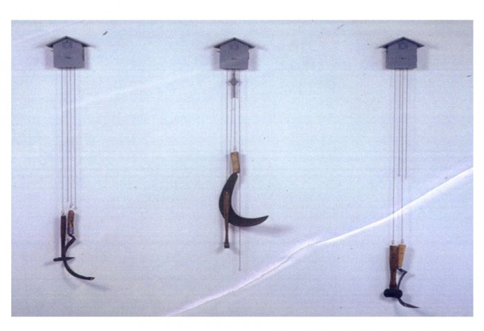 <i>Nothing Works, Nothing Matters</i>,	1990<br>Mixed media, 120 x 7 x 7 inches (304.8 x 17.78 x 17.78 cm)<br>Gift of Peter Norton