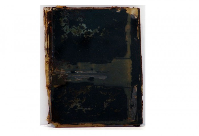 <i>Bandit</i>, 1993<br>Tar and wood on glass, 8 x 6 x 1 inches (20.32 x 15.24 x 2.54 cm)<br>Gift of James S. and Marisol G. Higgins