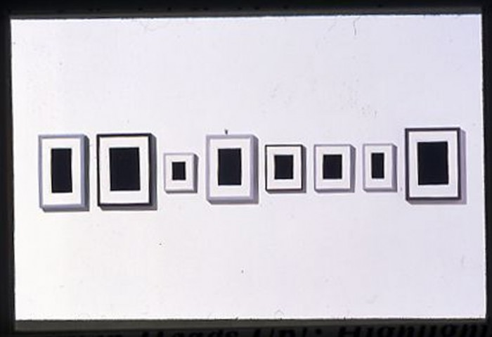 <i>Surrogate Paintings</i>, 1994<br>Eight small paintings of plaster, dimensions variable<br>Gift of Robert and Nancy Magoon