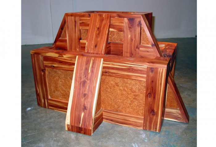 <i>Crate Ziggurat (Cedar #2)</i>, 2004<br>Aromatic cedar and elm burl wood, 42 1/2 x 30 x 23 1/2 inches (107.95 x 76.2 x 59.69 cm)<br>Purchased with funds provided by Pop Love