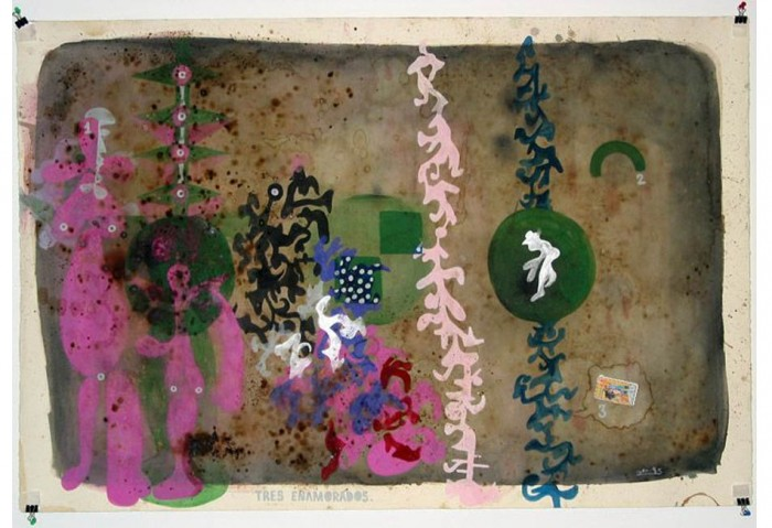 <i>Tres Enamorados</i>, 1995<br>Mixed media on paper, 31 1/2 x 47 inches (80.01 x 119.38 cm)<br>Gift of Dr. Arturo and Liza Mosquera
