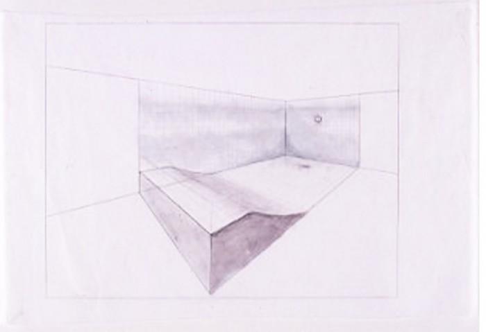 <i>Study for MoCA's Installation (Pool)</i>, 1996<br>Pencil on paper, 120 x 252 x 444 inches (304.8 x 640.08 x 1127.76 cm)<br>Gift of the Artist