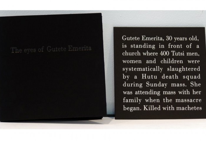 <i>The Eyes of Gutete Emerita</i>,	1996<br>Photographic portfolio with printed text and mirror cards,	8 1/4 x 8 1/4 inches (20.96 x 20.96 cm)<br>Gift of Francine and Leslie Rozencwaig