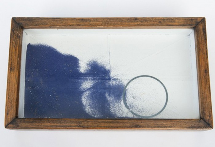 Untitled, 1948 Construction with wood, blue sand, metal ring, ball bearings, glass and varnished paper from French literature book on exteriors, 8 1/2 x 14 1/4 x 1 7/8 inches