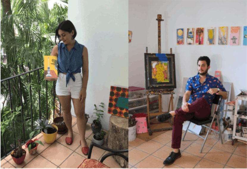 Artists krystal t. rodriguez and jefreid lotti beside their work