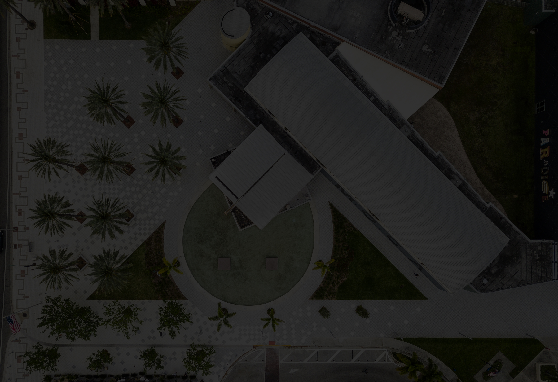 dark aerial shot of MOCA