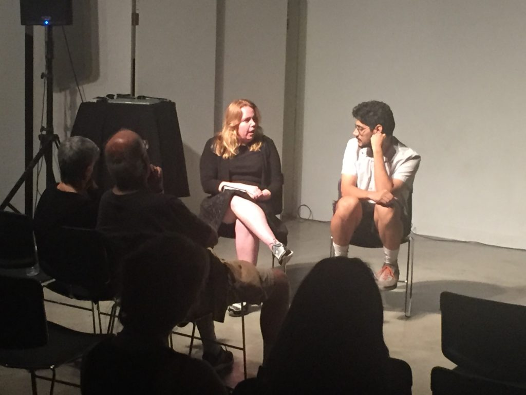 Curator Amy Galpin, Ph.D. and artist Domingo Castillo in discussion after film