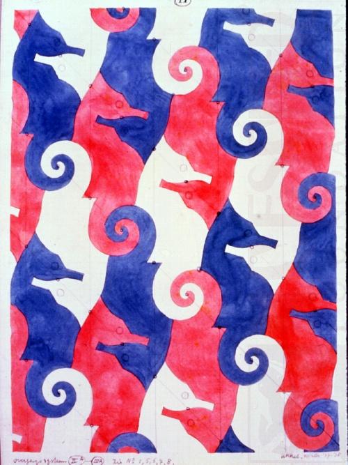 M.C. Escher Tessellation Sketch of Sea Horses