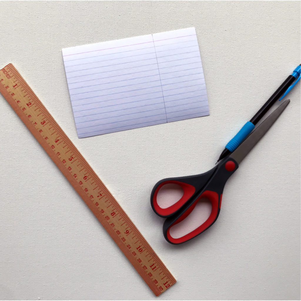 First, take an index card and with your ruler, pencil, and scissors, cut it into a square. My index cards are 4 inches by 6 inches, so I cut it down to 4 inches by 4 inches. You can cut yours into a smaller square if you want.