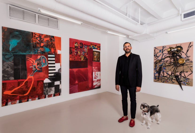 David Castillo with dog Harry; works by Pepe Mar