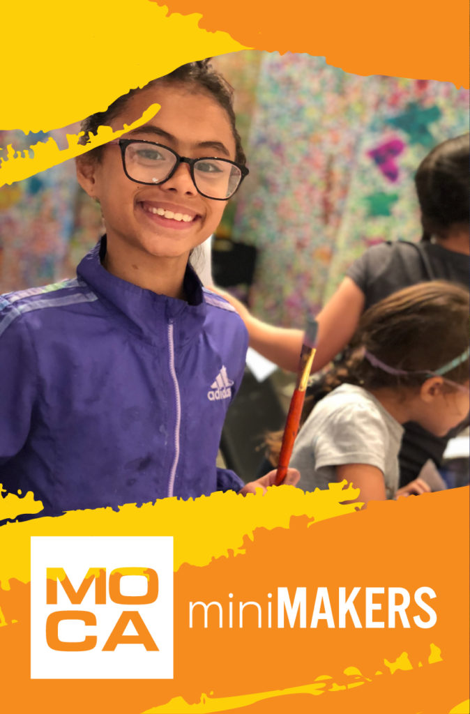 miniMakers logo with girl holding paint brush