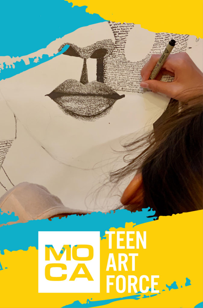 Overhead photo of Teen Art Force teen drawing portrait