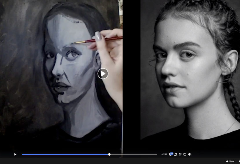 Virtual teen art force: 3/4 grayscale portrait with acrylic paint