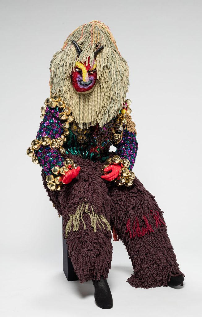 Raúl de Nieves  Fina Mystery, 2019  Vintage military suit, sequins, metal bells, threads, glue, cardboard, plastic beads, tape, trims, mannequin Dimensions variable Courtesy of the artist and Company Gallery, New York